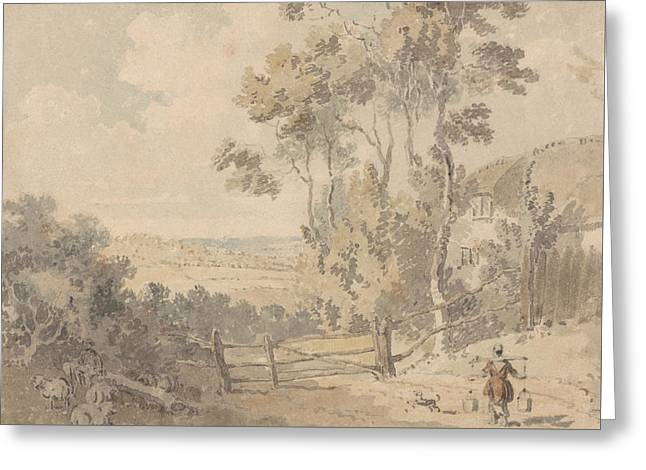 Milkmaid And Dog In A Landscape Greeting Card by Edward Dayes