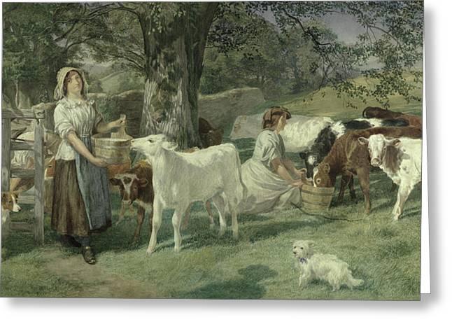 Milkmaids Greeting Card by Basil Bradley
