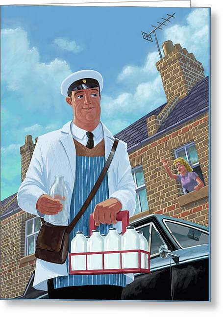 Milkman On Daily Milk Delivery In Urban Old Street Greeting Card by Martin Davey