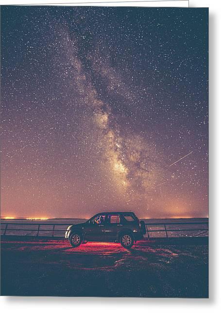 Car Under Milky Way Greeting Card by Okan YILMAZ