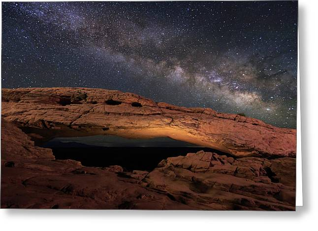 Milky Way Above Mesa Arch. Greeting Card by Johnny Adolphson