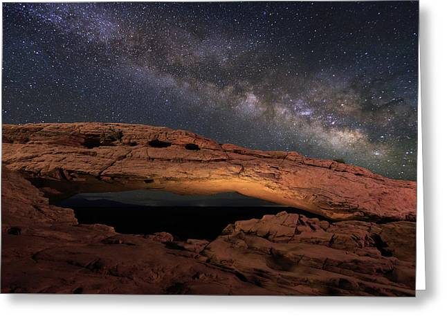 Greeting Card featuring the photograph Milky Way Above Mesa Arch. by Johnny Adolphson
