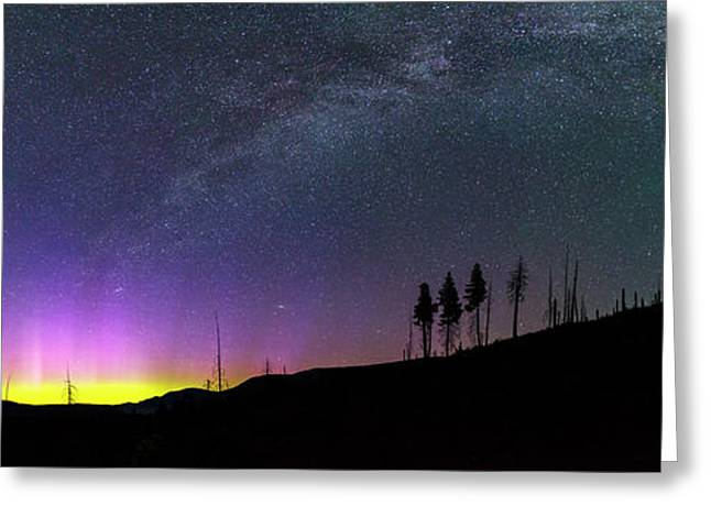 Greeting Card featuring the photograph Milky Way And Aurora Borealis by Cat Connor