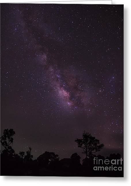 Greeting Card featuring the photograph Milky Way And Galaxy. by Tosporn Preede
