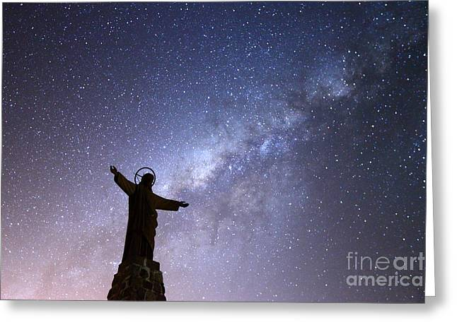 Milky Way And Jesus Christ Statue Greeting Card