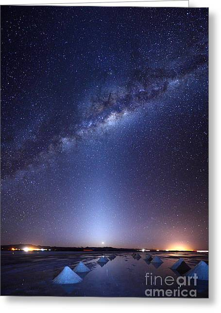 Milky Way And Zodiacal Light Above The Uyuni Salt Flats Greeting Card by James Brunker