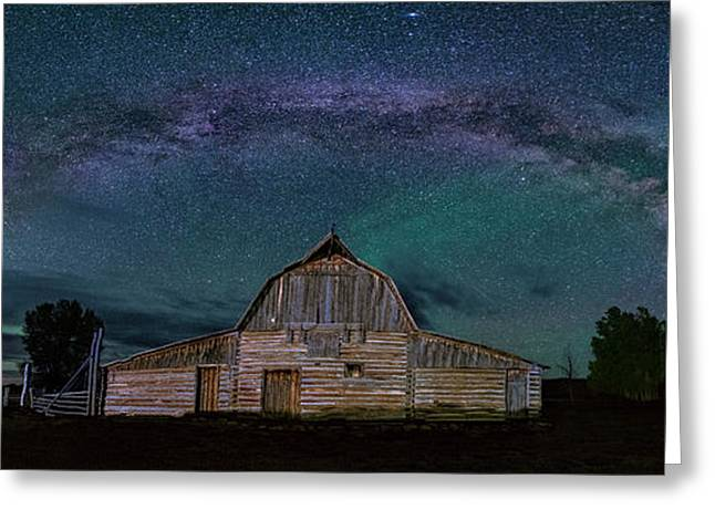 Milky Way Arch Over Moulton Barn Greeting Card