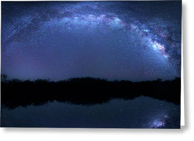 Greeting Card featuring the photograph Milky Way At Mrazek Pond by Mark Andrew Thomas