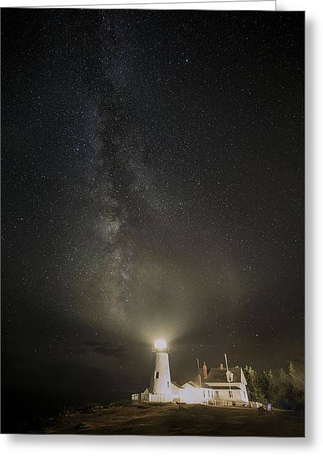 Milky Way At Pemaquid Light Greeting Card