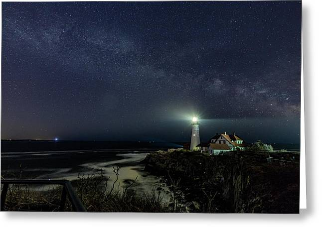 Milky Way At Portland Head Light Greeting Card