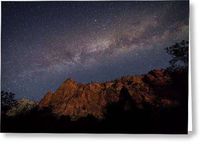 Milky Way Galaxy Over Zion Canyon Greeting Card