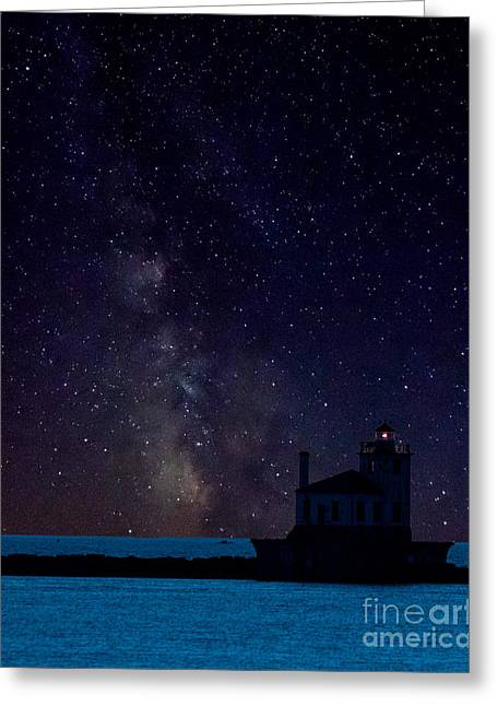 Milky Way Lighthouse Greeting Card