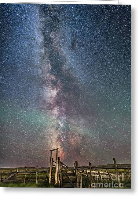 Milky Way Over An Old Ranch Corral Greeting Card by Alan Dyer