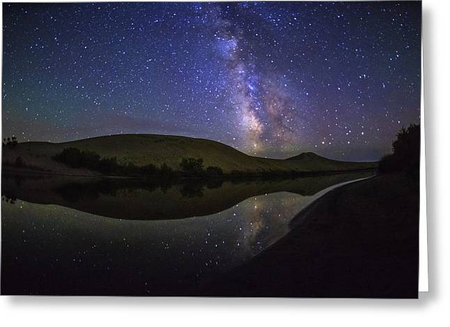 Milky Way Over Big Dunes At Bruneau Dunes State Park Idaho Usa Greeting Card by Vishwanath Bhat