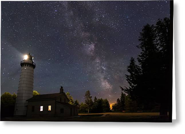 Milky Way Over Cana Island Lighthouse Greeting Card