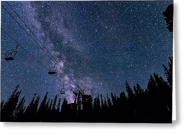Milky Way Over Chairlift Greeting Card