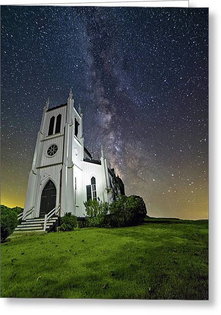 Greeting Card featuring the photograph Milky Way Over Church by Lori Coleman