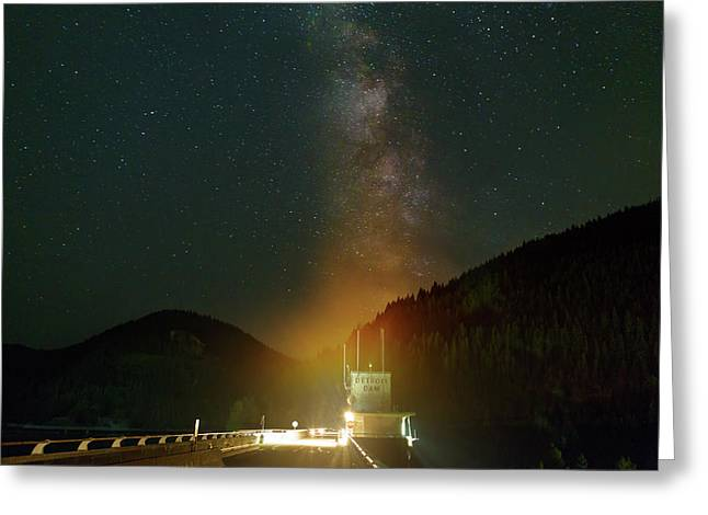 Milky Way Over Detroit Dam Greeting Card