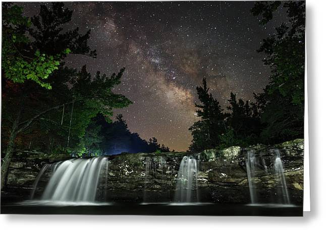 Milky Way Over Falling Waters Greeting Card