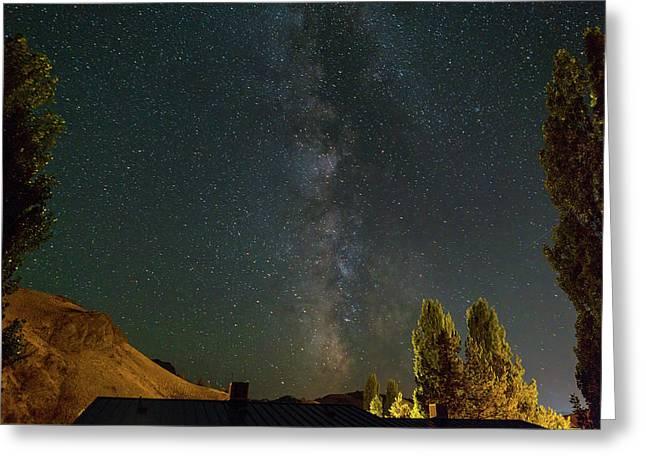 Milky Way Over Farmland In Central Oregon Greeting Card