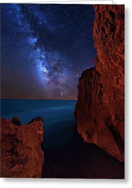 Greeting Card featuring the photograph Milky Way Over Huchinson Island Beach Florida by Justin Kelefas