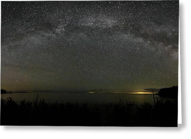 Milky Way Over Lake Michigan At Cana Island Lighthouse Greeting Card