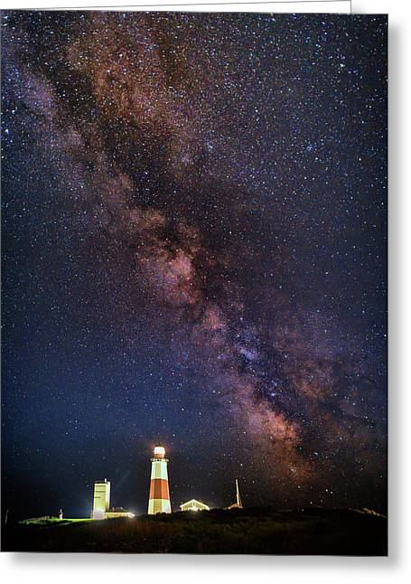 Milky Way Over Montauk Point Greeting Card by Rick Berk