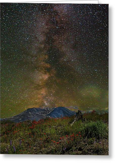 Milky Way Over Mount St Helens Greeting Card