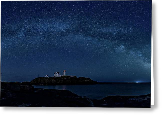 Greeting Card featuring the photograph Milky Way Over Nubble by Darryl Hendricks