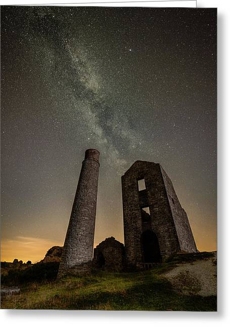 Milky Way Over Old Mine Buildings. Greeting Card by Andy Astbury
