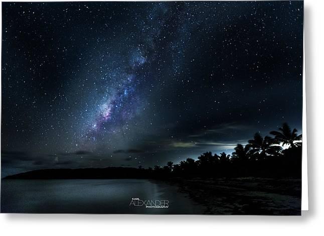 Milky Way Over Playa Navio Greeting Card by Karl Alexander