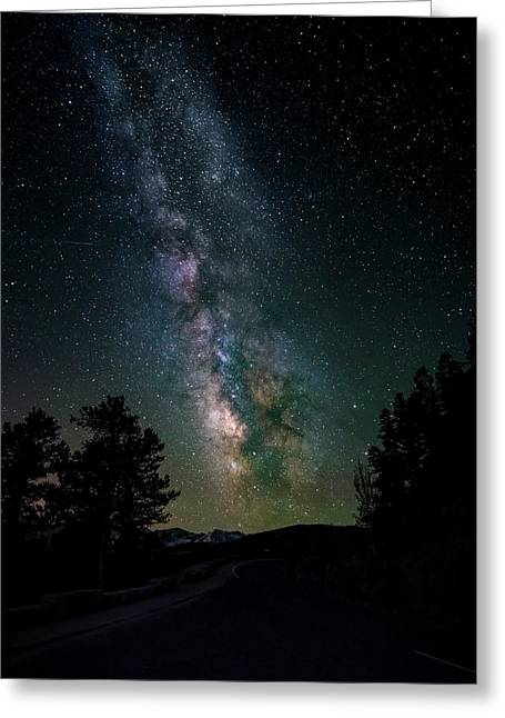 Milky Way Over Rocky Mountains Greeting Card