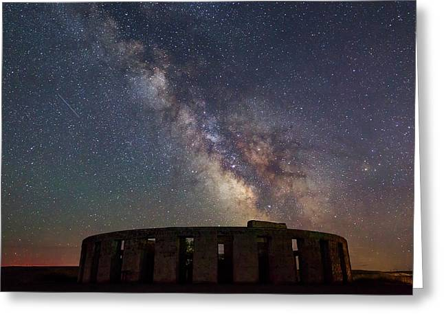 Greeting Card featuring the photograph Milky Way Over Stonehendge by Cat Connor