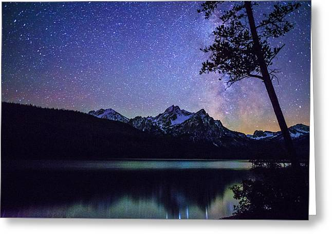 Milkyway Over Mount Mc Gowan At Stanley Lake In Idaho Greeting Card by Vishwanath Bhat