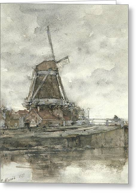 Mill And The Bridge At The North West Buitensingel Hague Greeting Card