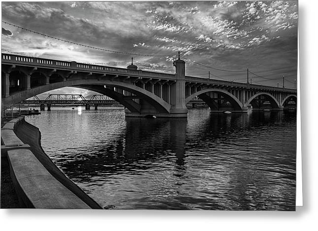 Greeting Card featuring the photograph Mill Avenue Bridge At Sunset Black And White by Dave Dilli