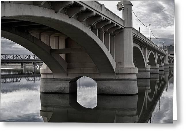 Mill Avenue Bridge In Tempe Arizona B And W Greeting Card by Dave Dilli