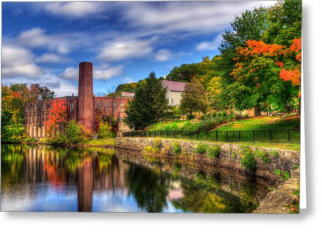 Mill Building - Autumn In Laconia Nh Greeting Card by Joann Vitali