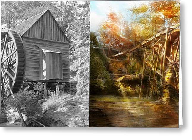 Mill - Cornelia, Ga - Grandpa's Grist Mill 1936 - Side By Side Greeting Card by Mike Savad