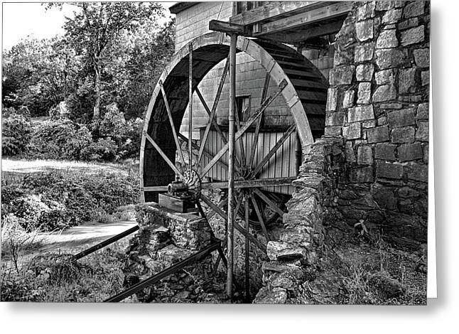 Mill Of Guilford Water Wheel In Bw Greeting Card