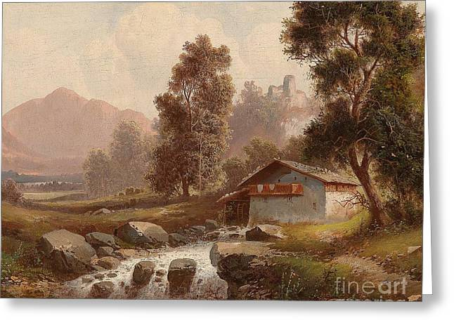 Mill On Forest Stream Greeting Card by Celestial Images