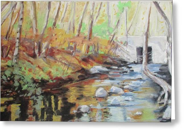 Mill Stream, October Greeting Card by Grace Keown