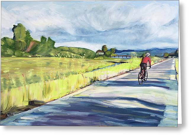 Mill Valley Bike Path Greeting Card by Colleen Proppe
