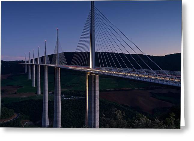 Millau Viaduct At Dusk Greeting Card