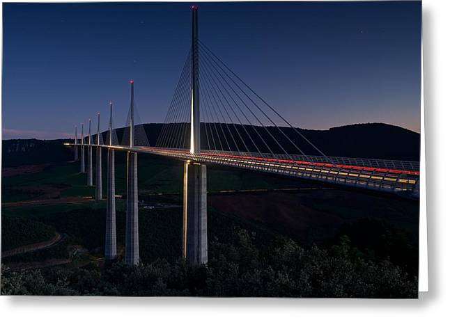 Millau Viaduct At Night Greeting Card by Stephen Taylor