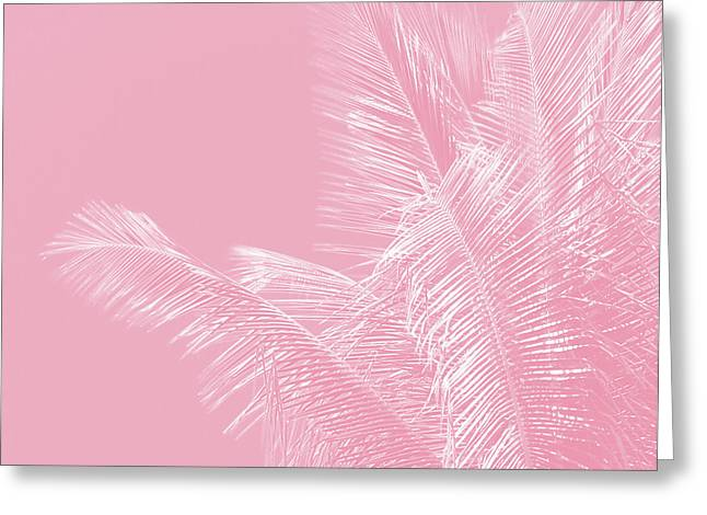 Millennial Pink Illumination Of Heart White Tropical Palm Hawaii Greeting Card