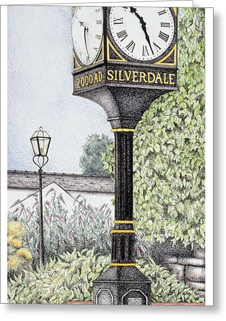 Millennium Clock Greeting Card by Sandra Moore
