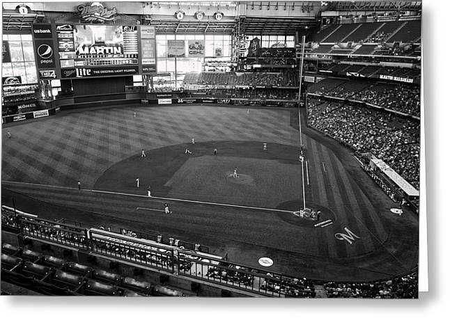 Miller Park - Milwaukee - Wisconsin Black And White Greeting Card