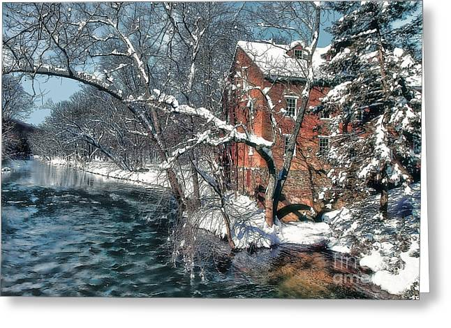 Mill House In Winter Greeting Card