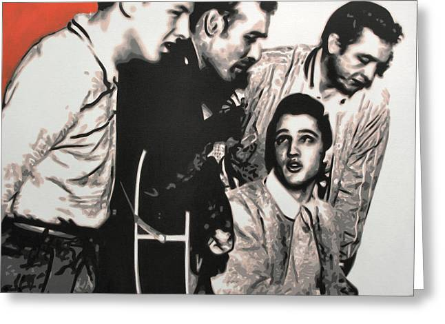 Million Dollar Quartet Greeting Card by Luis Ludzska